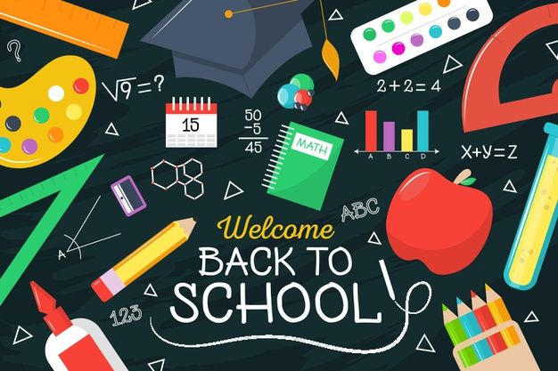 A decorative Welcome Back to School image with colourful school supplies including red apple, pencils, glue, pains, rulers, book and graduation cap