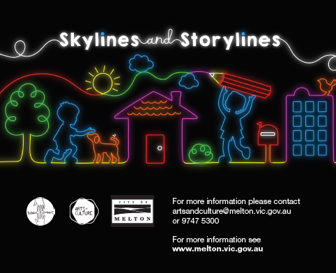 A colourful outlike of some childrens drawings set against a black background with the heading Skylines and Storylines